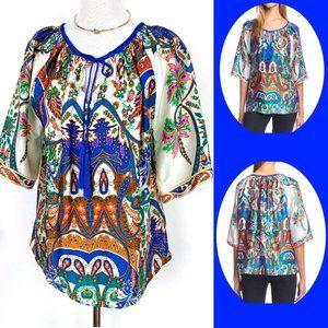 KAS New York Silk Bohemian Blouse Sz S